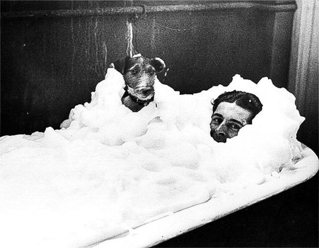 Гонщик Уолтер Килмистер принимает пенную ванну со своей собакой, 1934 год.