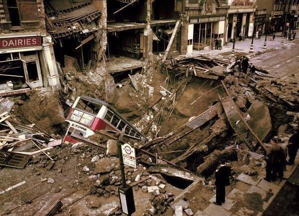 Разрушенный Лондон после бомбардировок. 2МВ. Англия. 1940 г.