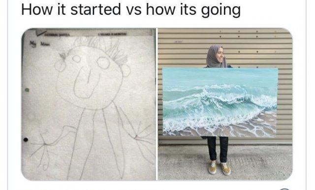 флешмоб How it started/How it's going о рисунках