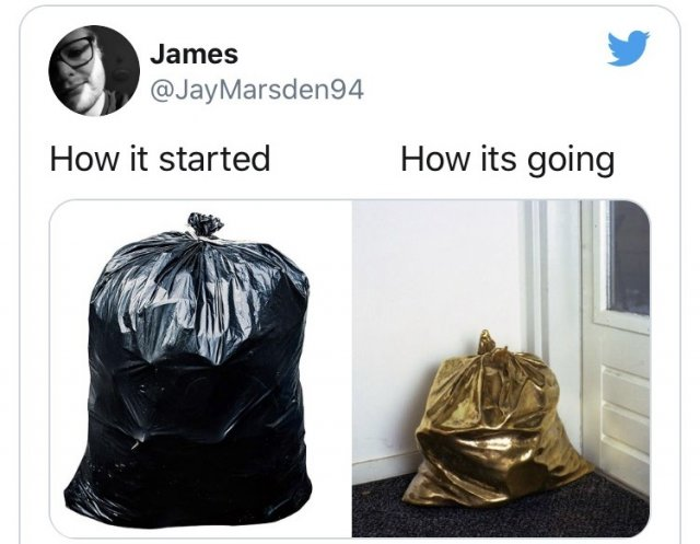 флешмоб How it started/How it's going о золотом пакете