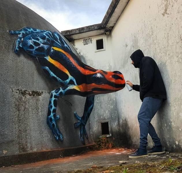 Реалистичное граффити жаба