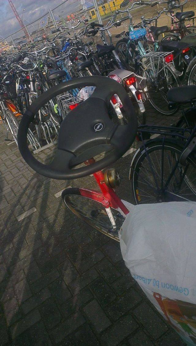 Руль от автомобиля на велосипеде
