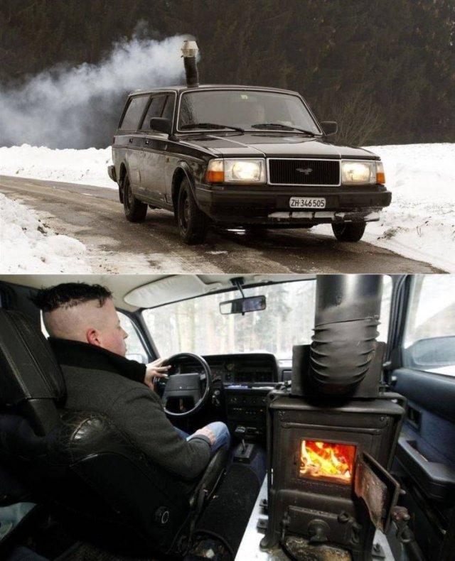 Печка в автомобиле на дровах