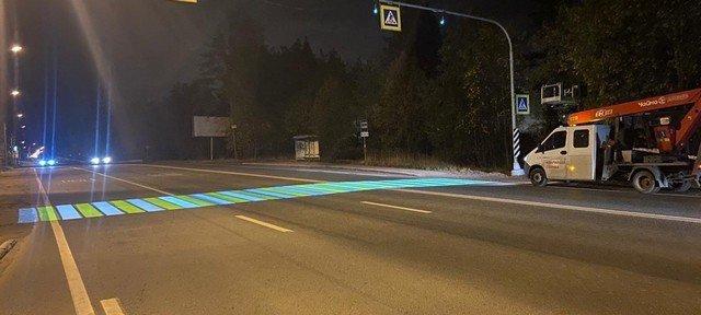 """""""лазерная зебра"""" - светящийся пешеходный переход"""