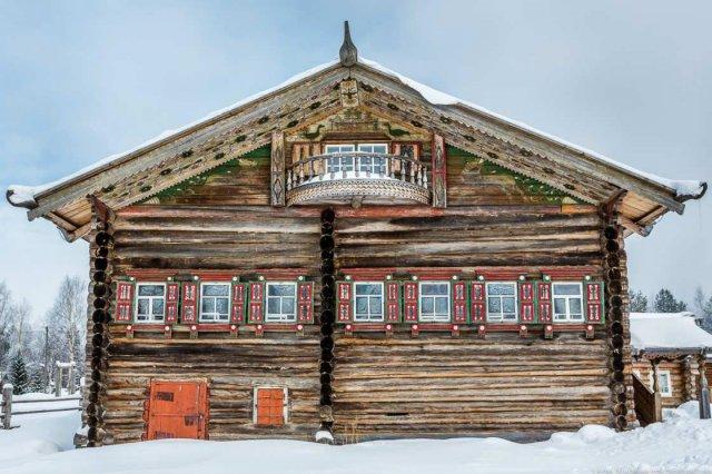 Дом Клокотова в Архангельской области, возведен в 1879 году, перенесён в музей деревянного зодчества под открытым небом «Малые Корелы»