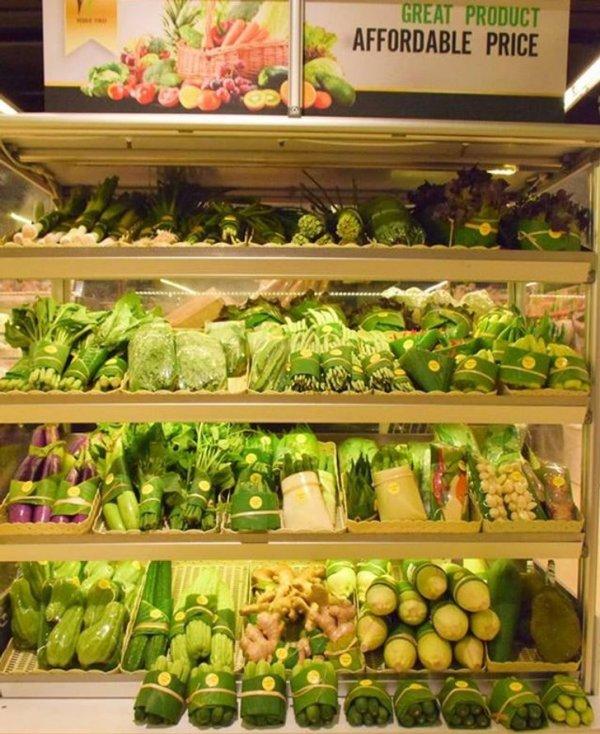 Во многих азиатских странах стали запаковывать овощи в листья