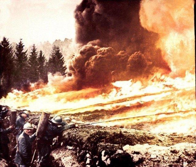 Французские огнеметчики, Верден, Франция, Первая мировая.