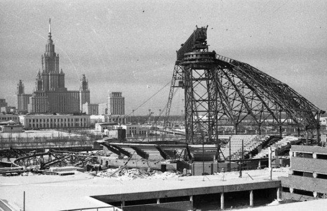 Строительство Большого московского цирка на проспекте Вернадского, 1966 год, Москва