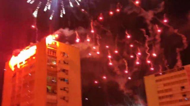 Фанаты хорватского футбольного клуба Хайдук празднуют свое 70-летие