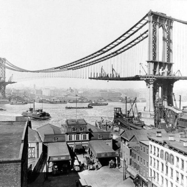 Строительство Манхэттенского моста. 1900-е годы, Нью–Йорк, США.