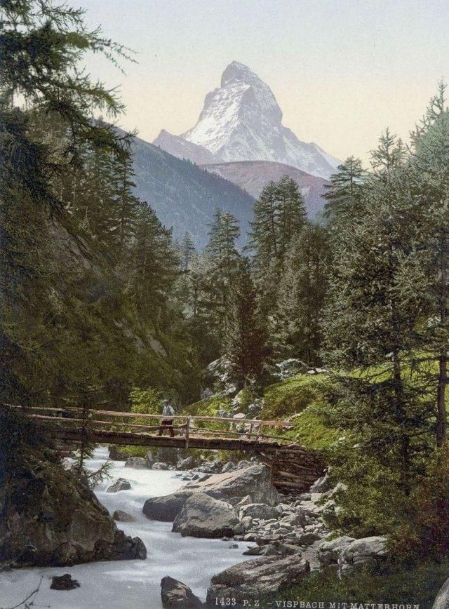 Мост и гора Маттерхорн, кантон Вале, Швейцария. Открытка 1890 года.