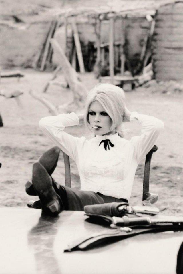 Брижит Бардо на площадке вестерна «Шалако», 1968 год, Испания