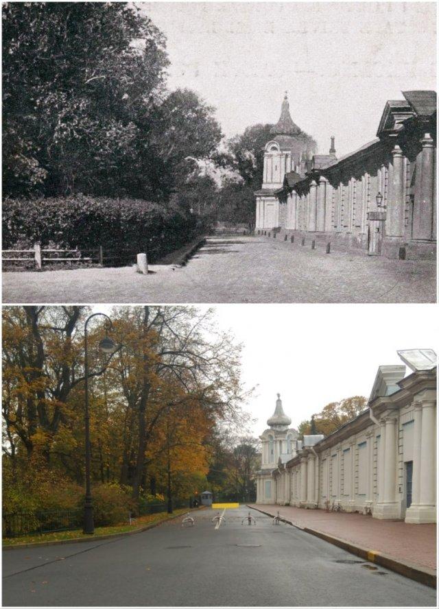 Стена Смольного монастыря1902 и 2020 год