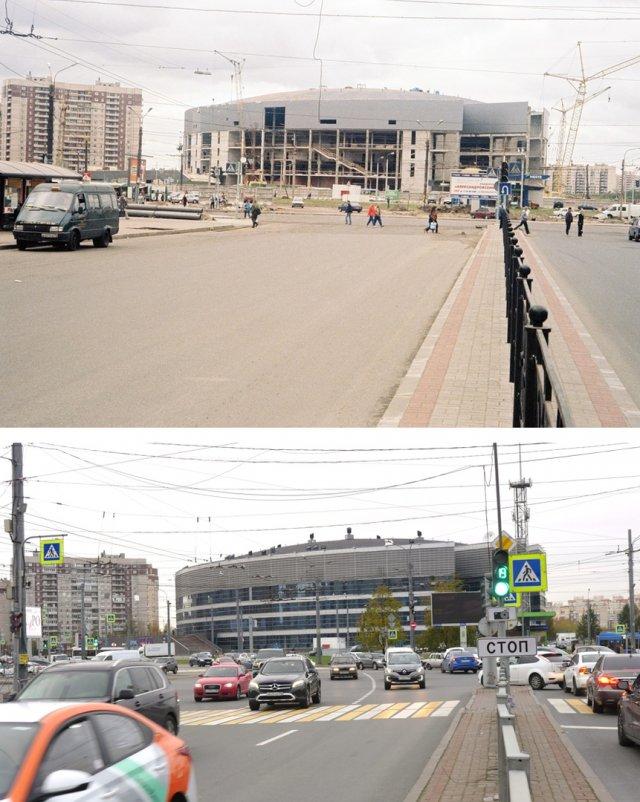 Строительство Ледового дворца1999 и 2020 год.
