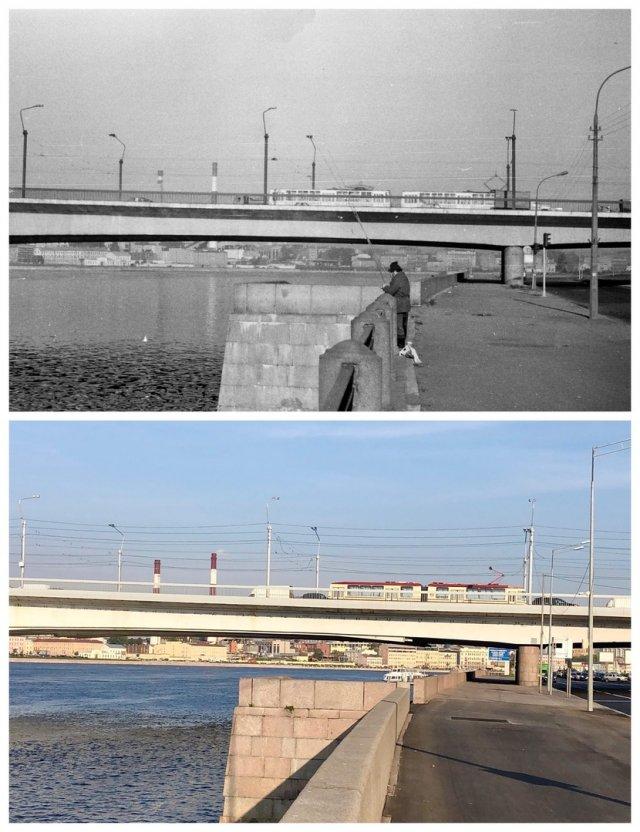 У моста Александра Невского.1988 и 2020 год.