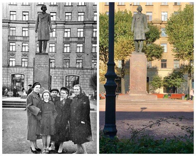 Памятник Добролюбову в Большом Рыбацком сквере.~1960 и 2020 год.