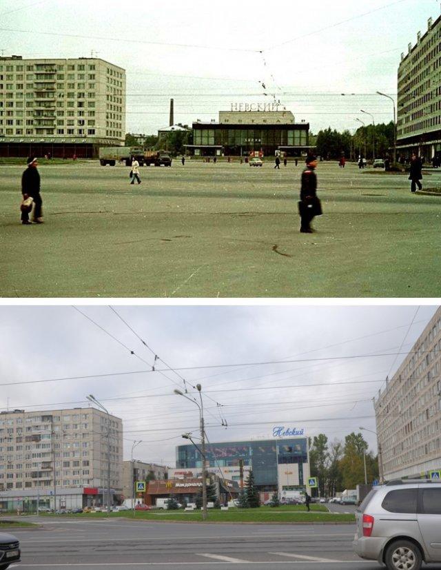 Народная улица у кинотеатра Невский~1980 и 2020 год.