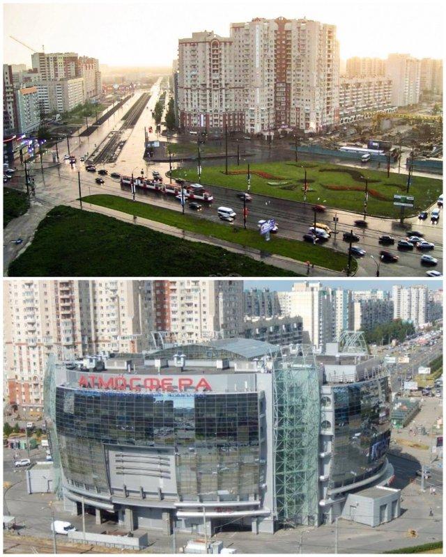 Комендантская площадь2001 и 2020 год.