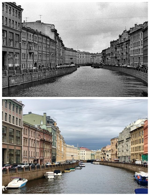 Река Мойка с Народного (Зелёного) моста.1975 и 2020 год.