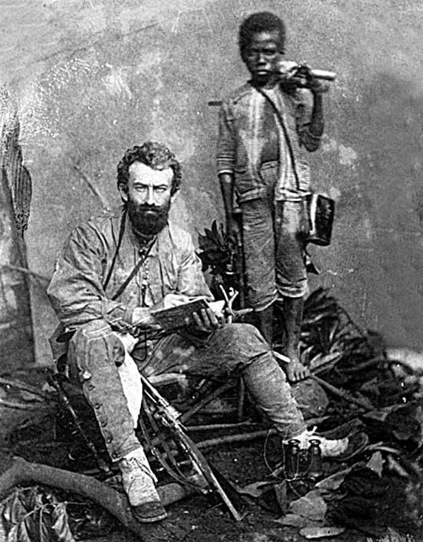 """""""Белый папуас"""" великий исследователь Николай Николаевич Миклухо-Маклай с аборигеном. 1874 год"""