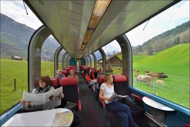 В поезде по полям