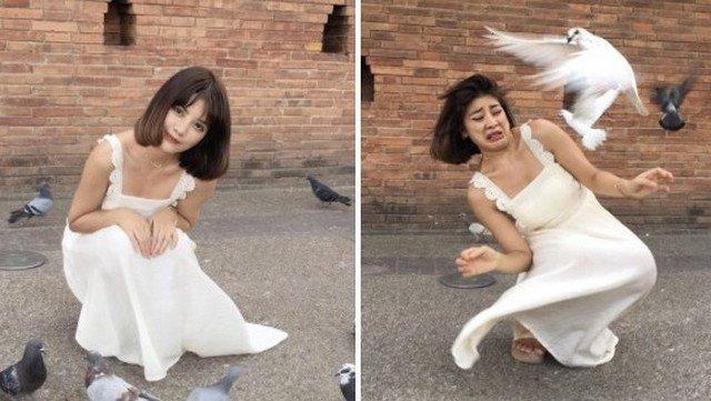 Блоегр Viennadoll делает снимок в белом платье