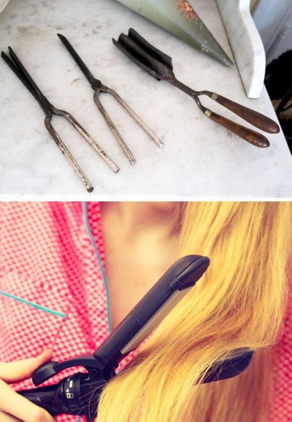 Старинные щипцы для завивки волос и современная плойка