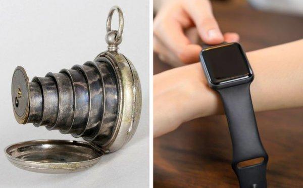 Карманные часы с камерой в 1886 году и в наши дни