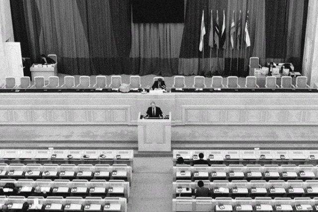 Последнее заседание Совета Республик Верховного Совета СССР, на котором была принята декларация о прекращении существования СССР, 26 декабря 1991 года.