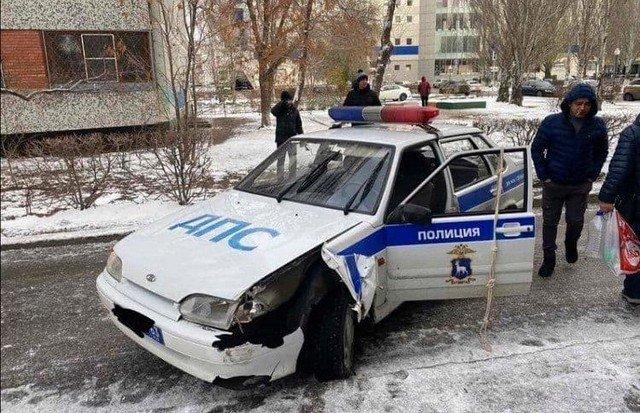 Разбитая машина ДПС в Тольятти