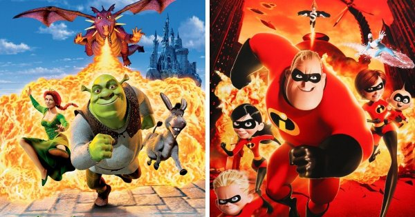 Шрек (2001) и Суперсемейка (2004)