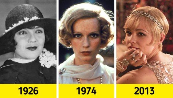 """Дейзи Бьюкенен из «""""Великого Гэтсби"""": Лоис Уилсон (1926), Миа Фэрроу (1974) и Кэри Маллиган (2013)"""