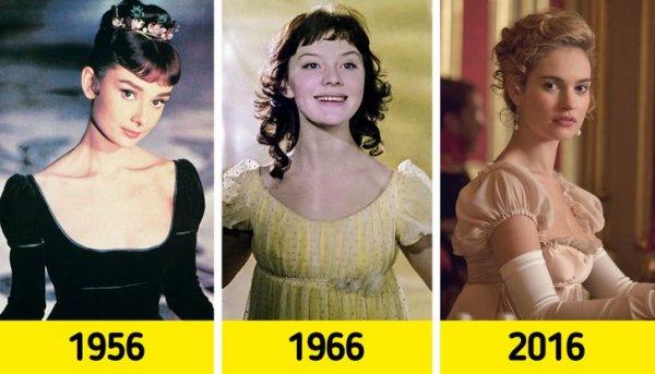 Наташа Ростова: Одри Хепберн (1956), Людмила Савельева (1966) и Лили Джеймс (2016)