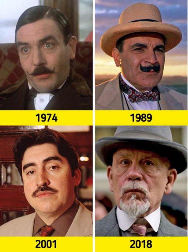 Эркюль Пуаро: 1974 году его сыграл Альберт Финни, в 1989-м — Дэвид Суше, в 2001-м — Альфред Молина, а в 2018-м — Джон Малкович