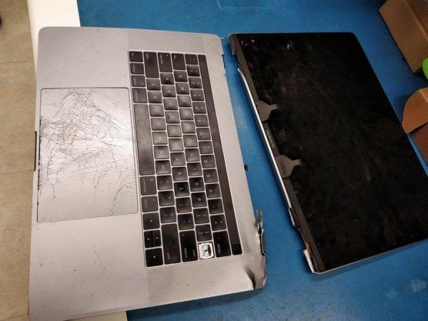 Клиент сказал, что ноутбук нечаянно упал