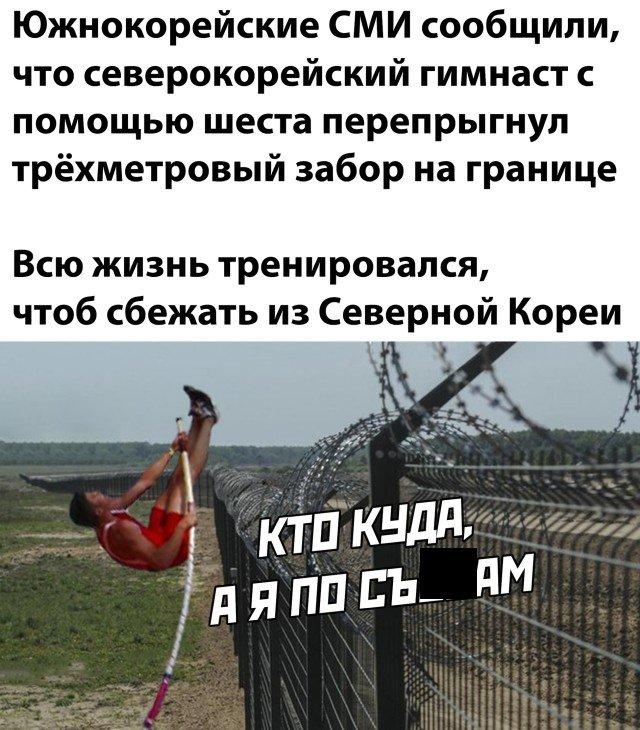Перепрыгнул через забор в Южную Корею