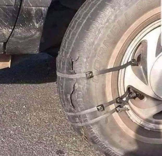 Заплатка на колесо автомобиля