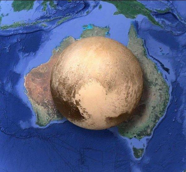 Размер Плутона по сравнению с Австралией