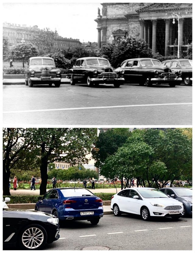 Стоянка автомобилей у гостиницы Астория.1955 и 2020 год.