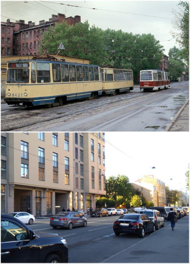 Перекрёсток улиц Моисеенко и Кирилловской1987 и 2020 год