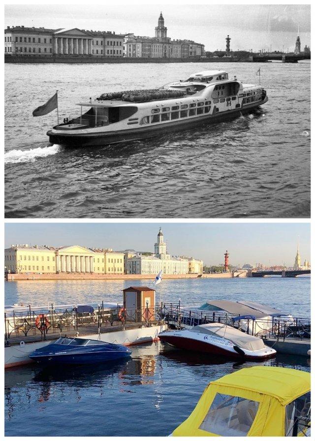Вид на Неву с Адмиралтейской набережной.1959 и 2020 год.