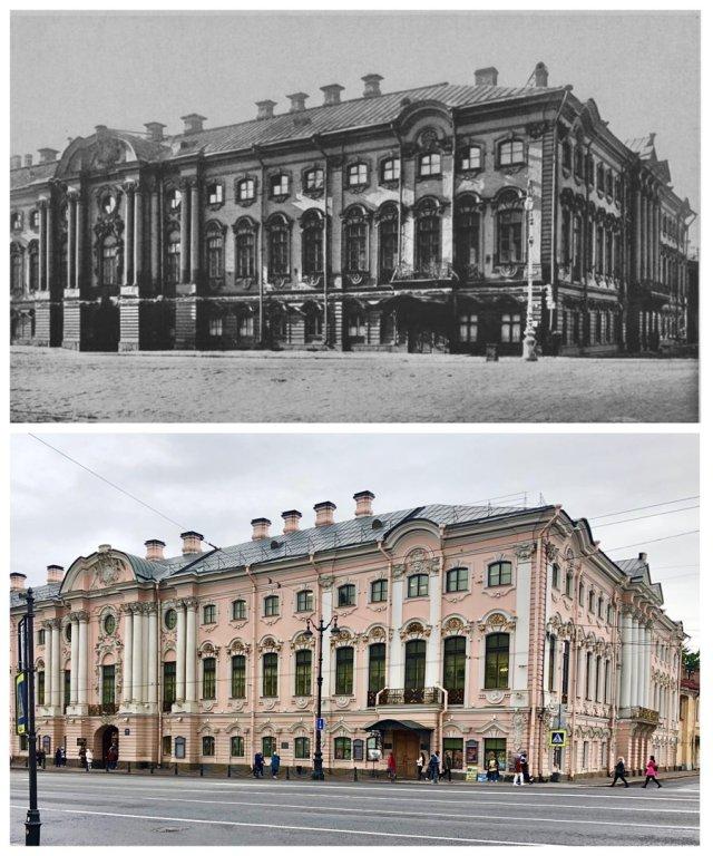 Строгановский дворец.1905 и 2020 год.