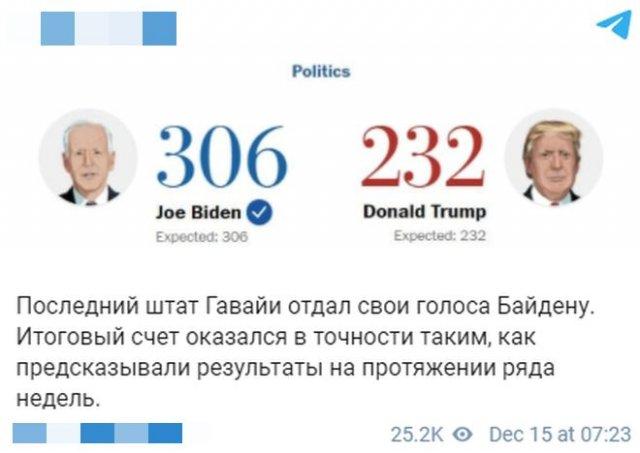 Джо Байден получил 306 голосов выборщиков — его уже поздравил с победой Владимир Путин