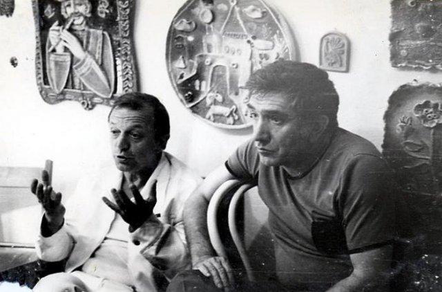 Анатолий Ромашин и Армен Джигарханян в студии Юрия Горбачева, 1985 год, Одесса, СССР