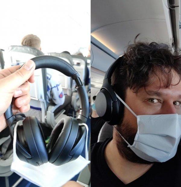 Лайфхак для путешественников — чтобы уши не болели от маски, крепите её на наушники