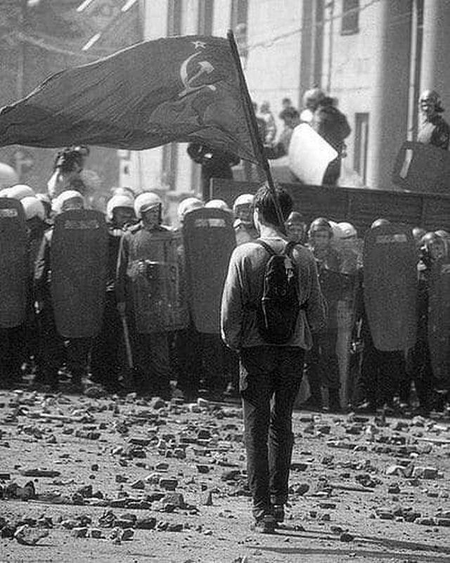 На митинге против развала СССР, Москва, 1993 год.