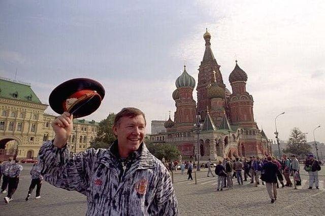 Тренер Манчестер Юнайтед сэр Алекс Фергюсон в Москве вместе со своей командой в 90-х