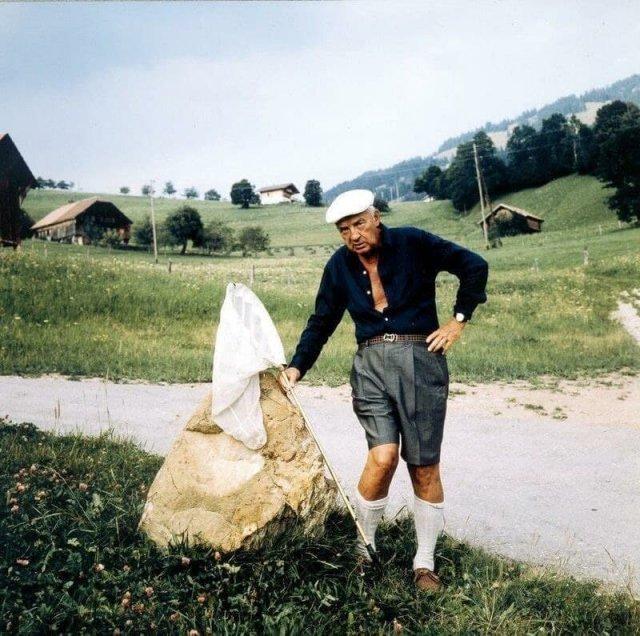 Владимир Владимирович Набоков любил половить бабочек. Гштад, 1970-е