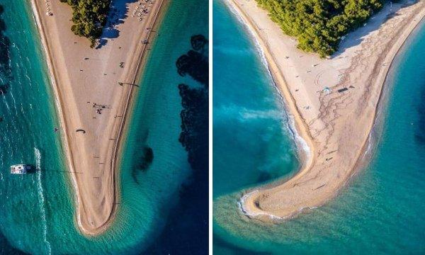 Пляж Златни-Рат в Хорватии, который меняет форму из-за ветра и течения