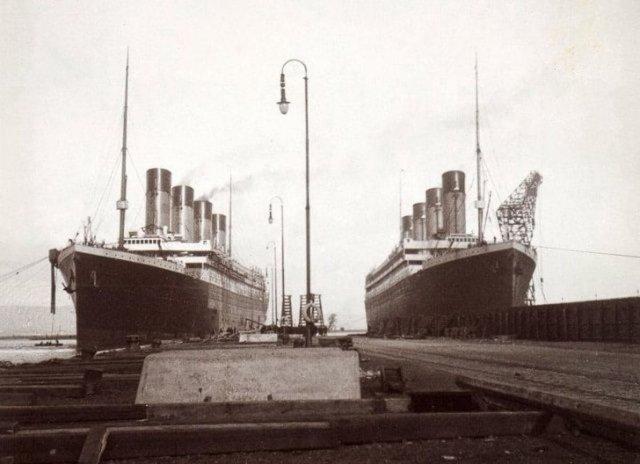 "Лайнеры White Star Line ""Титаник"" и ""Олимпик"" в порту Белфаста, 1912 год"